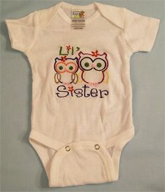 Big Sister Tee Shirt and Lil Sister Owl Bodysuit Design Gift for Girls Girls Clothing Made in the USA   Up for consideration is a Girls sister Tee Shirt and a baby girls bodysuit in a little sister design   I can made the bodysuit in the following sizes  NB-0/3M-3/6M-6/9M-6/12M-18M  LS--0/3M--3/6M--6/12M   THE Tee shirt can be made in the following sizes  6M--12M-18M-24M-2T-3T-4T-5T-6-T2/4-6/8  Long Sleeve-2T-3T-4T-5/6-6/8   Have any questions before making your purchase? Feel free to…