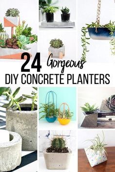 Easy unique DIY concrete planter ideas that are easy to make. Everything you need to know about how to make concrete planters molds and make your own fun geometric big or small cement planters. Painting Moving Decor and Organization Large Concrete Planters, Diy Planters Outdoor, Diy Concrete Planters, Concrete Crafts, Planter Ideas, Succulent Planters, Wall Planters, Concrete Pots, Succulents Garden