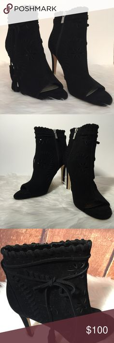 """NWOTB Ivanka Trump Blk Suede Daner Bootie Sz 7.5M NWOTB Ivanka Trump Black Suede Daner Bootie Size 7.5 M The Daner peep toe bootie from Ivanka Trump is one sassy boot. The cutout design and side tie with tassel detailing will set off any of your dress looks.  4"""" covered stiletto, Inside zipper closure,Wrap around tie and tassel accent,Lasecut suede upper Ivanka Trump Shoes Ankle Boots & Booties"""