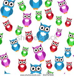 Cute owls. Vector seamless pattern with hand drawn flat birds. Colorful owl with white doodle ornament. Nice background for kids. Pink, yellow, green, beige and white colors. On green background.