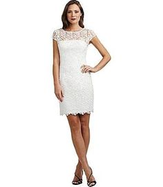 Adrianna Papell Lace Sheath Dress - White 16