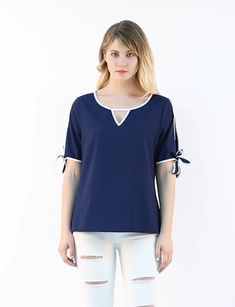 Women's Short Sleeve Choker V Cut-Out Contrast Color Bow Tie Cuffs Casual Blouse Top. Blouse Styles, Blouse Designs, Night Suit For Women, Iranian Women Fashion, Cute Girl Dresses, Latest African Fashion Dresses, Contrast Color, Minimal Fashion, Audrey Hepburn