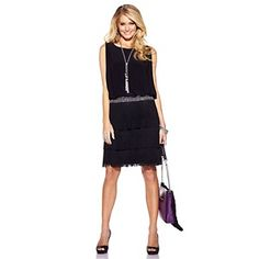 JS Boutique Black Dress with Fringe and Beaded Waist at HSN.com.
