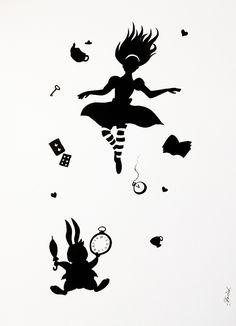 Alice in wonderland falling silhouette Alice im Wunderland fallen Silhouette Alicia Wonderland, Alice In Wonderland Rabbit, Alice And Wonderland Tattoos, Alice Tatoo, Machine Silhouette Portrait, Alice In Wonderland Silhouette, Alice Rabbit, Stencils, Mad Hatter Tea