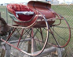 Vintage Montana 2 passenger shorse drawn sleigh red for sale $3,000