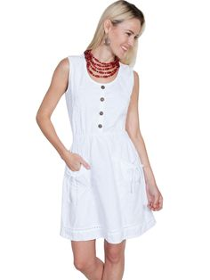 Scully Cantina Womens White 100% Cotton Lace Tie Pocket Sundress