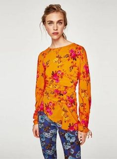 #Oasap - #oasap Round Neck Long Sleeve Floral Printed Top - AdoreWe.com