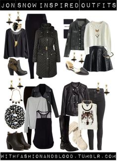Jon snow inspired outfits with requested earrings by withfashionandblood featuring River Island  Chicwish white crop top / Oversized cardigan, $43 / H M long sleeve lace blouse, $24 / Forever 21 graphic design shirt / Planet stretch belt, $125 / Denim jacket / Black jacket / H M biker jacket, $31 / Chicwish black skater skirt / Whistles black tight, $39 / River Island high-waisted pants, $19 / H&M high waisted jeans, $39 / Mesh cotton sports tank(black) / Black legging, $20 / H&M kne...