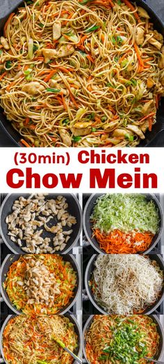 Homemade Chicken Chow Mein is way better than takeout! A satisfying one-pan dinner with chicken, vegetables, noodles, and the best homemade chow mein sauce. Easy Chinese Recipes, Asian Recipes, Healthy Recipes, 30 Min Meals, Quick Meals, Cheap 30 Minute Meals, Meals To Make, Meals Kids Love, 30 Minute Dinners