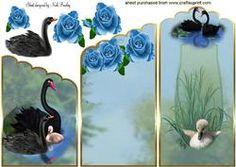 Mooie Zwarte Zwanen Met Blue Rose Cascading Card