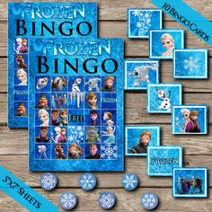 Frozen Bingo! Digital Download! Frozen Game! Party Game! Printable Party Game! Olaf Anna Elsa game