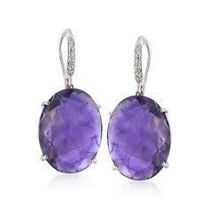"Ross-Simons - 20.00 ct. t.w. Amethyst and .10 ct. t.w. Diamond Drop Earrings in Sterling Silver. 1 1/4"" - #785627"