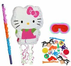 "Hello Kitty 21"" Pull-String Pinata Party Pack Including Pinata, Filler Favors, Buster and Blindfold by Pinata. $49.50. Includes Hello Kitty 21"" Pull-String Pinata. Includes 64 Party Favors that includes tops, yo-yos, toy guns, kazoos, mazes and more in assorted colors. Caution: for children 3 years and up. Includes one hard Plastic Pinata buster that measures approximately 30"". Caution: use only under adult supervision. Includes one Blindfold with Elastic String. Measures 7"" lon..."