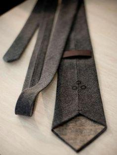 r. perkins mfg | hand sewn charcoal herringbone wool tie