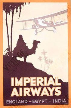 Vintage Travel Poster - Imperial Airways  - England - Egypt- India