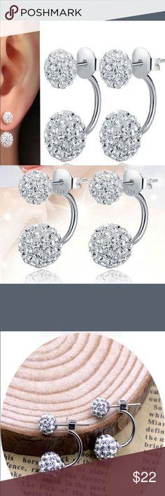 925 sterling silver double beads crystal earrings Brand new Jewelry Earrings