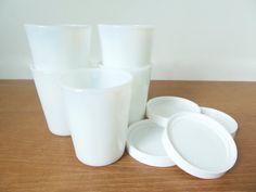 Five milk glass Salton yogurt cups with four lids, seven ounce capacity by…