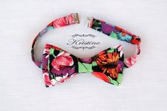 Men's Bow Tie printed cotton floral and fruit by KristineBridal, $39.99