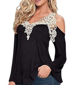 Jade Onlines Women's Sexy Lace V Neck Off-shoulder Long Sleeve Blouse Shirt Tops Jade Onlines http://www.amazon.com/dp/B01C4422IW/ref=cm_sw_r_pi_dp_FgO3wb0GS53VR
