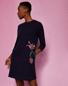 Floral embroidered dress - Navy | Dresses | Ted Baker