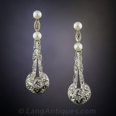 Antique Diamond and Pearl Drop Earrings - Antique & Vintage Earrings - Vintage Jewelry