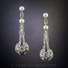 Antique Diamond and Pearl Drop Earrings - Antique & Vintage Earrings - Vintage Jewelry