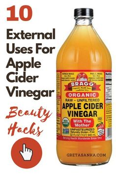 Due to apple cider vinegar's properties, it comes with a dozen health benefits when taken internally. In this post, however, I am going to share 10 different ways that you can use apple cider vinegar and its amazing properties for external beauty uses. 1. Apple cider vinegar is a great natural alternative for your facial toner. It balances the pH level in your skin which is what a toner is intended for. #applecidervinegar #beautyhacks #beauty Steaming Your Face, Facial Steaming, Diy Natural Beauty Recipes, Homemade Beauty Products, Toner For Face, Facial Toner, Drugstore Shampoo, Dry Brittle Hair