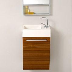 Fresca Bath FVN8002TK Pulito Small Vanity with Tall Mirror, Teak