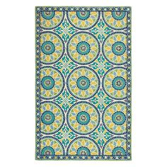 Lisette Rug in Cerulean Blue (Geometric Pattern, Hooked Rugs)   Handmade Area Rugs from Company C