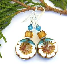 """The """"Pretty Pansies"""" handmade earrings shown with the white and aqua side facing out.  What a unique pair of artisan earrings!"""