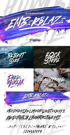 EMBERBLAZE is Handmade Font Brush, with combination lifestyle and street-wise brush font. With extra attention to quick strokes and sharp details, EMBERBLAZE to Graphic Design Fonts, Lettering Design, Hand Lettering, Branding Design, Logo Design, Game Design, Typography Letters, Typography Logo, Logos