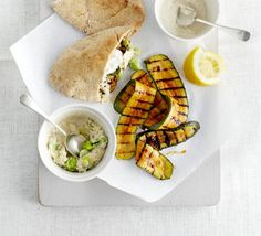 Treat yourself to a solo supper of grilled vegetables, served in bread pockets with tahini, houmous, broad beans and harissa, from BBC Good Food. Bbc Good Food Recipes, Veggie Recipes, Vegetarian Recipes, Cooking Recipes, Healthy Recipes, Veggie Dinners, Lunch Recipes, Healthy Meals, Pitta