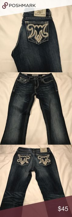 MEK Jeans Super cute MEK Jeans, only worn a couple times because they were too long for me! They're in GREAT condition. The white stitching and white leather accents really pop out. Size 28 - 34 Long. Slim Boot MEK Jeans Boot Cut