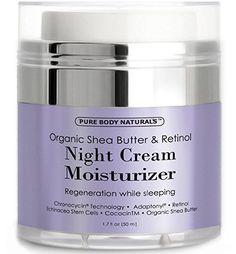 Premium Organic Shea Butter & Retinol Night Cream w Echinacea Stem Cells Ginseng #PureBodyNaturals