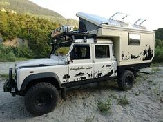 "Globe Camper - One of our greatest pleasure and the return of our clients travellers with their customization of the camping. So this is a beautiful defender 130 with a cell cutaway long totally led and ready to ""wander"" Landrover Camper, Suv Camper, Off Road Camper, Camper Van, Land Rover Defender 130, Defender Camper, Pickup Camping, Adventure Campers, Kabine"