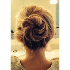A PERFECT MESSY BUN ❤ liked on Polyvore featuring beauty products, haircare, hair styling tools, hair and hairstyles
