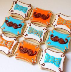 Baby Shower Mustache and Bowtie Cookies - Blue Sugar Cookie Co. via Cookie Connection No Bake Sugar Cookies, Baby Cookies, Baby Shower Cookies, Iced Cookies, Cute Cookies, Royal Icing Cookies, Cupcake Cookies, Mustache Cookies, Biscuit Decoration