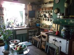 At the age of fifty four during the great depression of the Mary Ann Baxter strode into a property auction being held in the town hall and bought for cash a small farm. This swallowed up her entire life savings! Cozy Kitchen, Country Kitchen, Kitchen Decor, Kitchen Design, Kitchen Black, Estilo Interior, Deco Boheme, Kitchen Interior, Vintage Kitchen