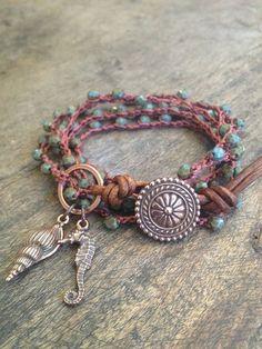 "Ocean Life Crochet & Leather Multi Wrap Bracelet ""Beach Chic"" $42.00"