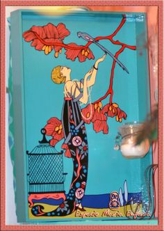 Bandeja pintada totalmente a mano, mujer años 20, con almohadón desmontable - Espacio María Eugenia