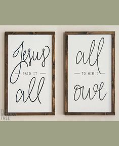 Jesus Paid It All All To Him I Owe | Vertical Framed Wood Signs, Christian Gifts, Scripture Wall Art Decor, Wooden Sign, Farmhouse sign, home decor, farmhouse decor, rustic sign, rustic decor #ad