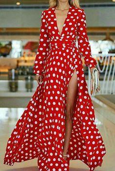 Polka dot deep v neck long sleeve side split maxi dress HoBeach Dots Fashion, Fashion Outfits, Side Slit Dress, Casual Dresses, Summer Dresses, Fashion Seasons, Maxi Wrap Dress, The Dress, Dress Red