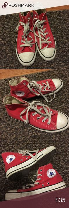 Red Converse High Tops Red Converse high top in womens 8 or mens 6. Great 16967e254