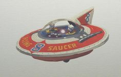 Here is an original oil painting from Scott Moore's Laguna Beach studio/gallery. Toy Rocket, Victorian Toys, Space Fashion, Sci Fi Shows, Space Toys, Flying Saucer, Laguna Beach, Rockets, Vintage Toys