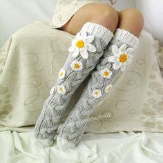 Grey socks with Сamomile. Handmade Knee high Socks Woo… Grey socks with Сamomile. Knitting Socks, Hand Knitting, Knitting Patterns, Crochet Patterns, Knit Socks, Scarf Patterns, Womens Wool Socks, Grey Socks, Winter Socks
