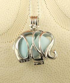 Sea Glass Necklace Elephant Locket Blue Milk by seaglassgems4you