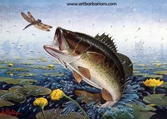 Bass Fish Art | Stamp 1981 Bass Research Foundation Stamp Print By Les C Kouba