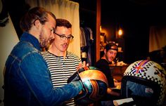 Checking out the helmet painted by Donny Conrad. #Biltwell Photography by Bill DeVore