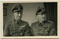 Waffen SS Officers. Great uniform details and crusher cap style
