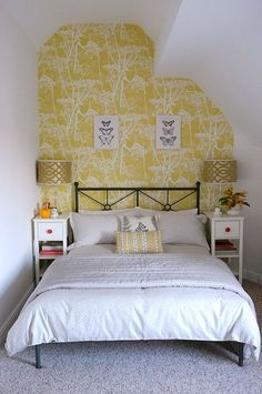 Attic Bedroom Ikea The post Attic Bedroom Ikea appeared first on Sovrum Diy. Wallpaper Bedroom, Home Bedroom, Feature Wall Bedroom, Small Guest Bedroom, Attic Bedroom Small, Yellow Room, Small Bedroom, Small Double Bedroom, Yellow Bedroom
